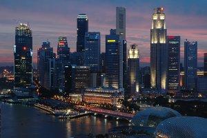 Singapore city at dusk